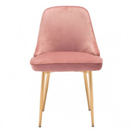Pink with a Sheen Velvet Dining Chair Gold Legs