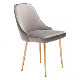 Grey with a Sheen Velvet Dining Chair Gold Legs