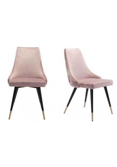 Blush Pink Velvet Back Button Tufted Dining Chair Set 2