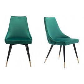 Forest Green Velvet Back Button Tufted Dining Chair Set 2
