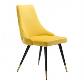 Yellow Velvet Back Button Tufted Dining Accent Chair Set 2