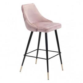 Blush Pink Velvet Back Button Tufted Counter or Barstool