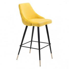 Yellow Velvet Back Button Tufted Counter or Barstool