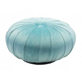 Light Blue Velvet Round Center Tuft Ottoman Pouf