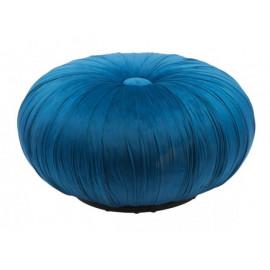 Blue Velvet Round Center Tuft Ottoman Pouf