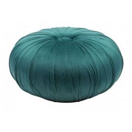 Dark Green Velvet Round Center Tuft Ottoman Pouf