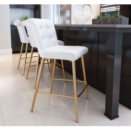 White Button Tufted Bar Stool Gold Legs