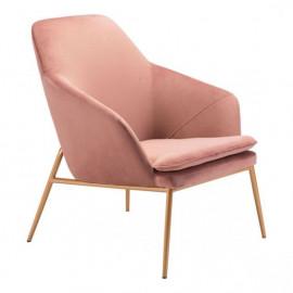 Blush Pink Velvet Gold Base Lounge Chair