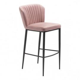Blush Pink Velvet Channel Tufted Barstool Set of 2