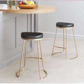 Black Eco Leather Backless Gold Base Counter or Bar Stool Set 2