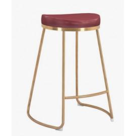 Burgundy Eco Leather Backless Gold Base Counter or Bar Stool Set 2