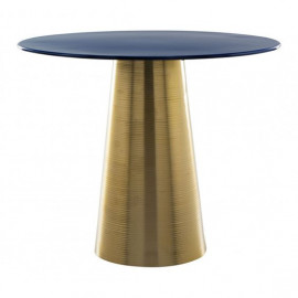 Blue Enamel Top Gold Cone Base Accent Side Table