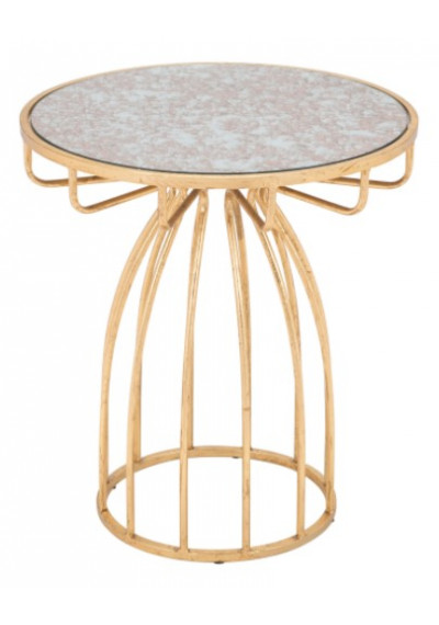 Mirror Top Gold Metal Ornate Cage Base Accent Side Table