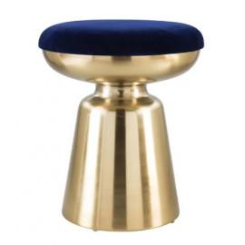 Gold Hourglass Base Deep Blue Velvet Pouf Top Footstool Ottoman