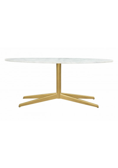 Skinny White Marble Top Gold Base Mid Century Cocktail Table