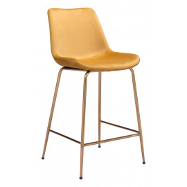 Modern Smooth Yellow Velvet Gold Legs Counter or Bar Stool