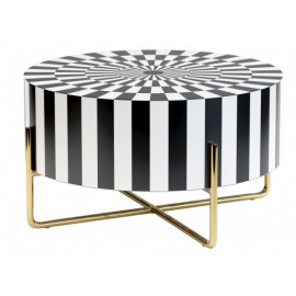 Black & White Geometric Design Round Top Coffee Cocktail Table