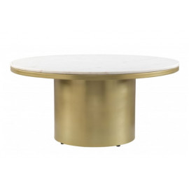 Round Cylinder Metal Base White Marble Top Coffee Cocktail Table