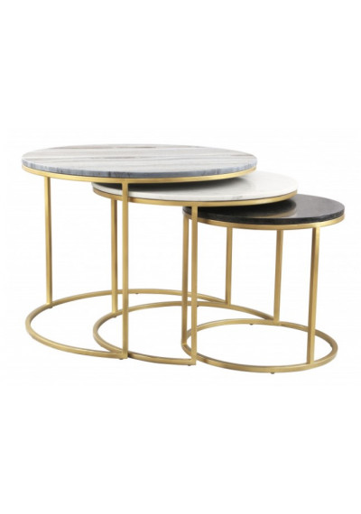 Round Marble Tops Brass Base Coffee Cocktail Nesting Tables