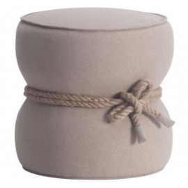 Barrel Beige Fabric Ottoman Pouf Center Rope Tie