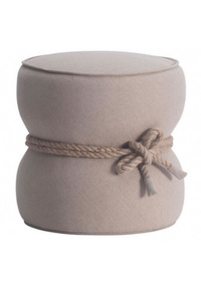 Barrel Beige Fabric Ottoman Pouf Center Rope Tie