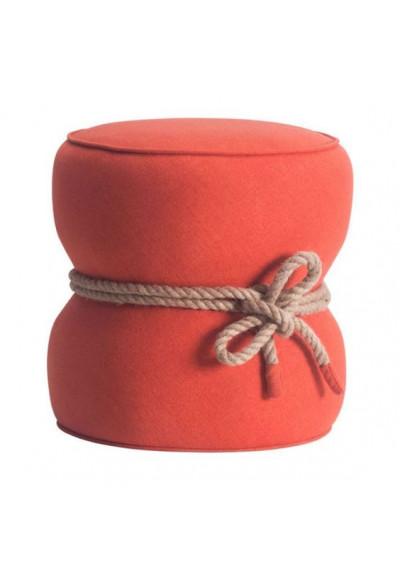 Barrel Orange Ottoman Pouf Center Rope