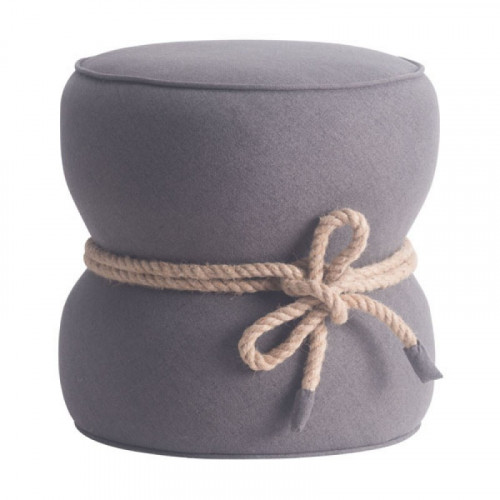 Barrel Gray Ottoman Center Rope Tie