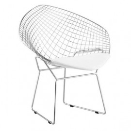 Chrome Netted Chair White Seat Set 2