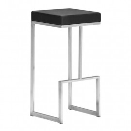 Stainless Steel Black Seat Counter or Barstool Set of 2