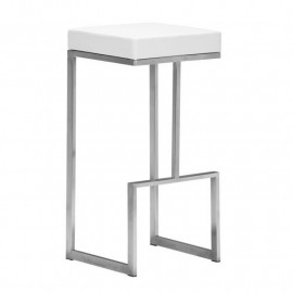 Stainless Steel White Seat Counter or Barstool Set of 2