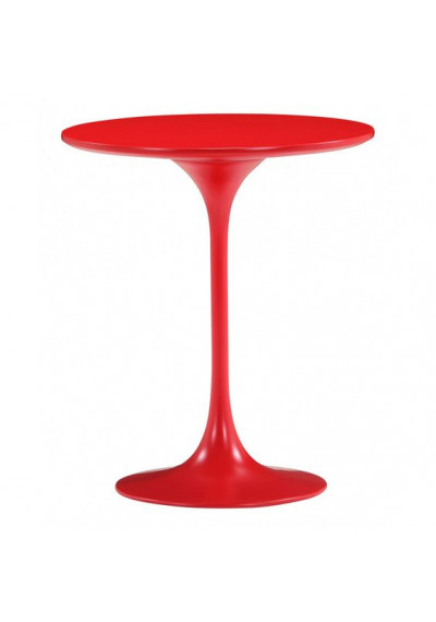 Glossy Red Tulip Stem Base Accent Side Table