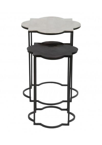 Black & White Metal Quatrefoil Nesting Tables