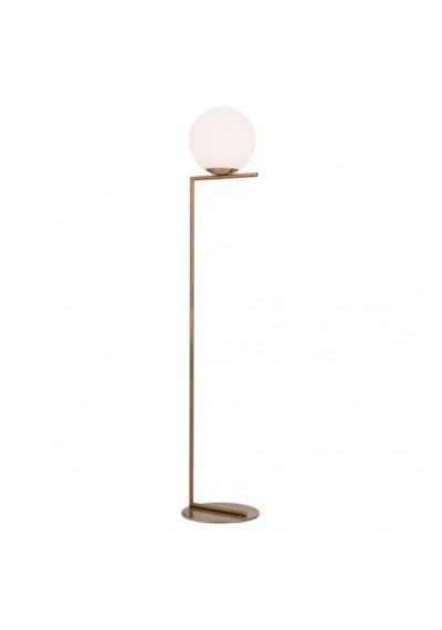 White Globe Modern Gold Base Floor Lamp