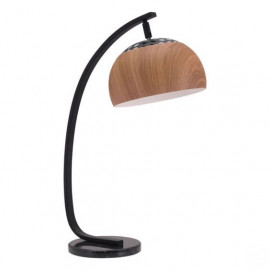 Faux Wood Grain Shade Mid Century Arc Table Lamp