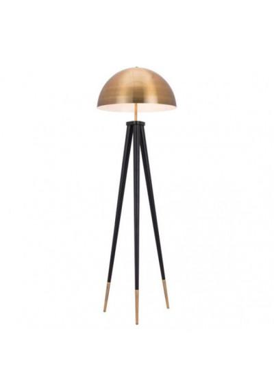 The Dome Brass & Black Floor Lamp