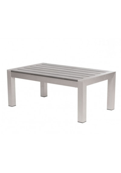 Brushed Aluminum & Wood Contemporary Patio Coffee Table