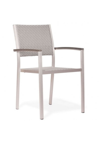 Brushed Aluminum & Mesh Patio Arm Chair Set 2