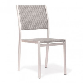 Brushed Aluminum & Mesh Patio Dining Chair Set 2