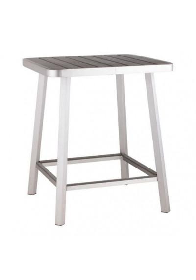 Urban Brushed Aluminum & Dark Wood Patio Bar Table