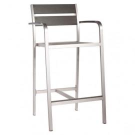 Urban Brushed Aluminum & Dark Wood Patio Bar Arm Chair 2