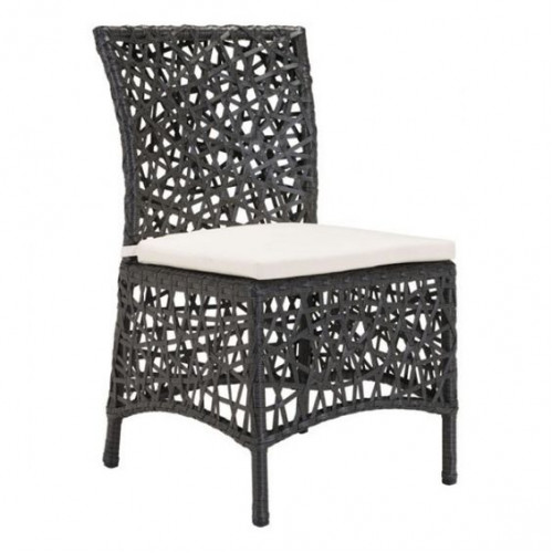 Loose Woven Brown Patio Dining Chair