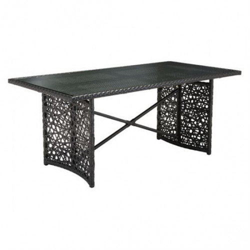 Loose Woven Brown Patio Dining Table