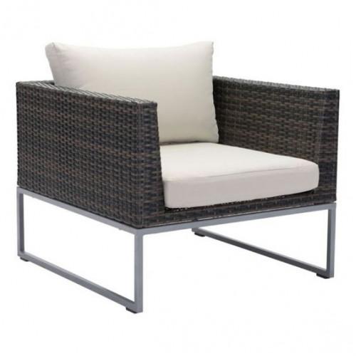 Espresso Brown Patio Arm Chair Beige Cushion