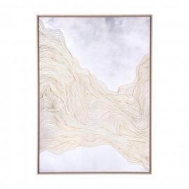Wavy Gold Threads Modern Gold Framed Canvas Wall Art