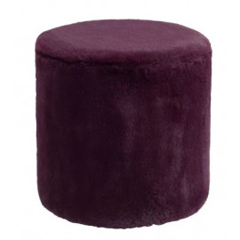 Purple Furry Fluffy Round Footstool Ottoman