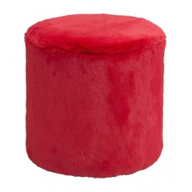 Red Furry Fluffy Round Footstool Ottoman