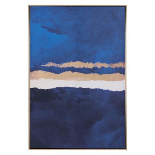 Blue Ocean & Sky Gold Framed Canvas Wall Art