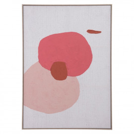 Floating Bubbles in Pink Modern Abstract Framed Canvas Wall Art