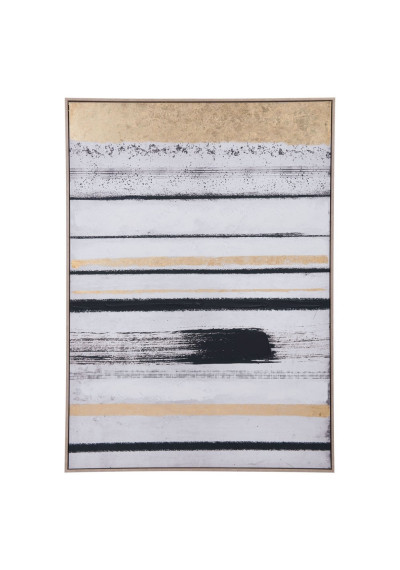 Black White Gold Yellow Tiger Stripe Modern Framed Canvas Wall Art