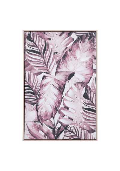 Jungle Leaves with Lavender & Sepia Modern Framed Canvas Wall Art